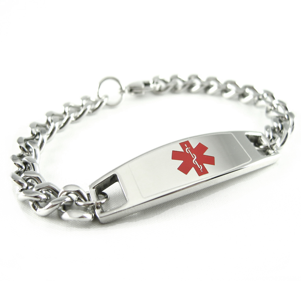 medical quick stainless id p alert view bracelet steel