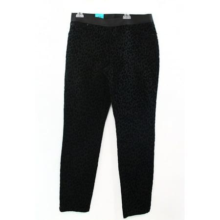 INC NEW Black Velour Leopard-Print Legging Pull-On Womens Size 0 Pants $69 #108