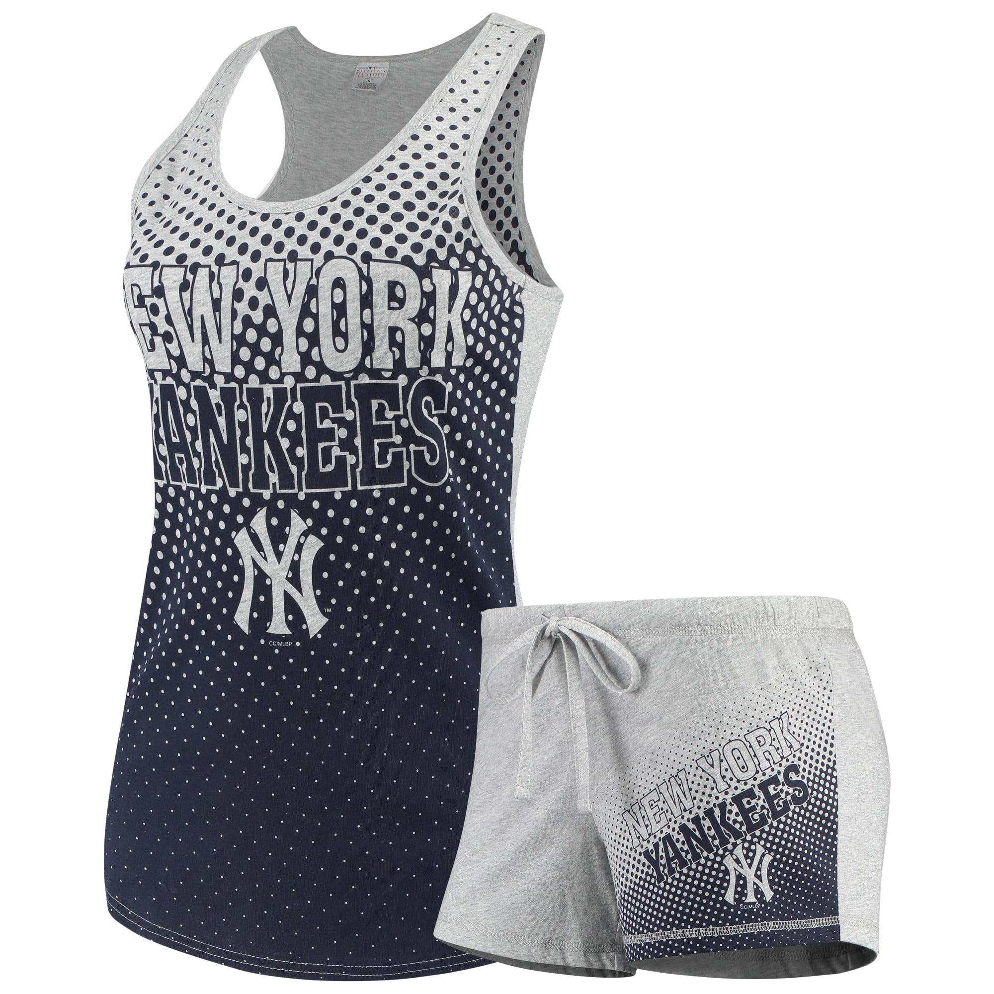 Women's Concepts Sport Gray New York Yankees Shutout Tank Top & Shorts Set