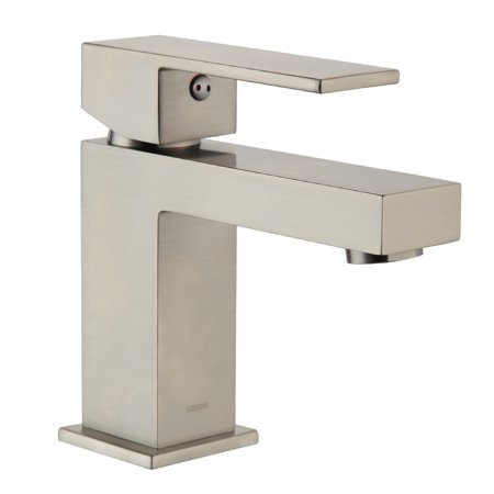 Efx Mixer - Keewi Bathroom Faucets Single Handle, 4 inch Modern Chrome Brass Single Handle Bathroom Faucet, Basin Faucet Mixer Tap Finish, Brushed Nickel PVD
