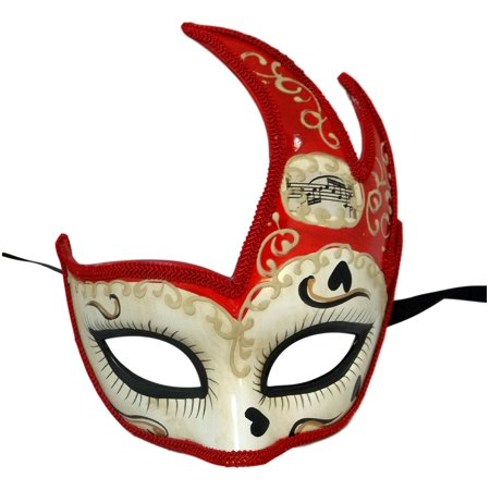 Ivory Red Anime Cat Face Masquerade Mardi Gras Flame Mask