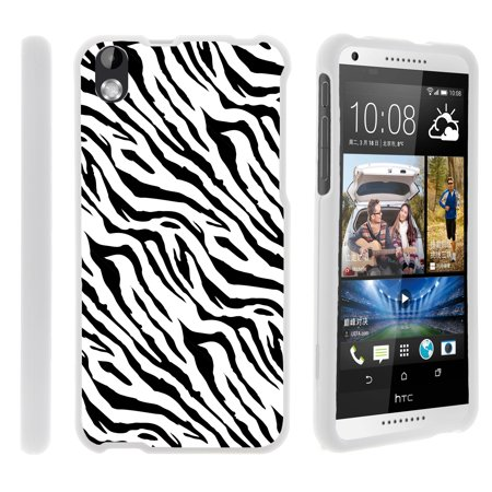 HTC Desire 816, [SNAP SHELL][White] 2 Piece Snap On Rubberized Hard White Plastic Cell Phone Case with Exclusive Art - Zebra Pattern - Pattern Hard Plastic Mobile