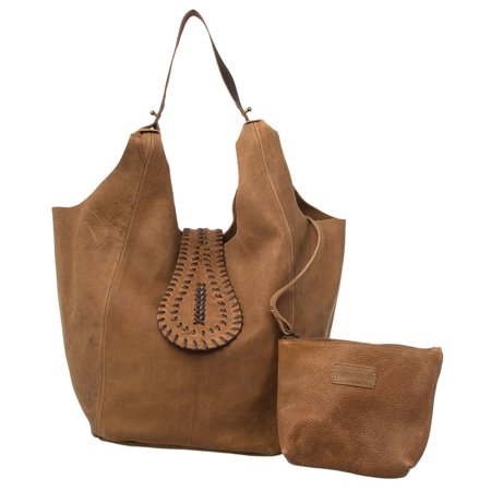 Faux Suede Tote (AllAsta Kamya Leather Hobo Purse Brown Shoulder Sling Style Suede Handbag Tote )