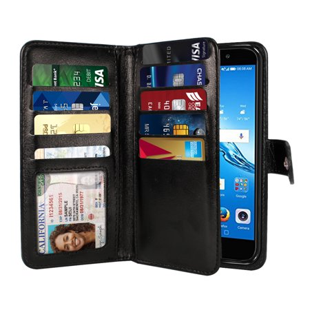 NEXTKIN Multi Card Slots Double Flap Wallet Pouch Case for Huawei Ascend XT2 H1711, Black (Sim Card Slot Huawei Ascend P6)