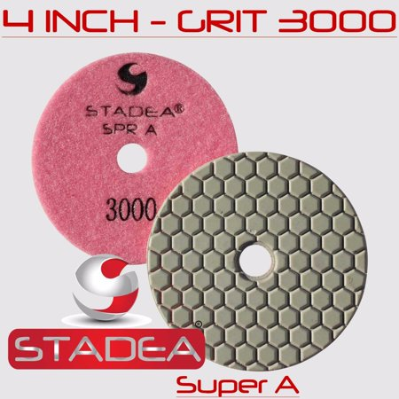 Stadea DPPD04SPRABUFW1P Dry Granite Diamond Polishing Pad for Granite Concrete Stone Marble Travertine Glass Polishing with White Buff