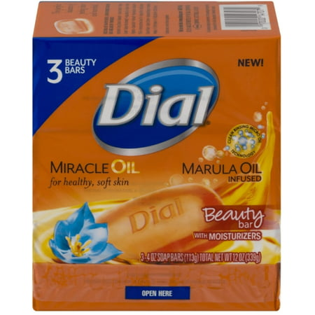 2 Pack - Dial Miracle Oil Bar Soap, 4 oz bars,  3