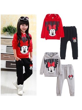 Cartoon Girls Kids Mickey Costume Tops Hoodies Sweatshirt Outfits Set 2-7Y