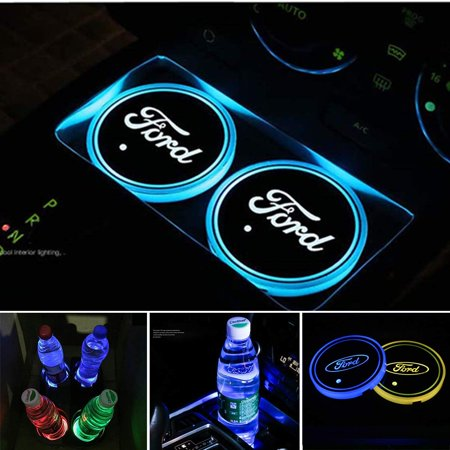 Ford Cup Holders (LED Car Cup Holder Lights for Ford, 2PCS Car Logo Cup Coaster with 7 Colors Changing USB Charging Mat, Luminescent Cup Pad Interior Atmosphere Lamp Cool Car Accessories)