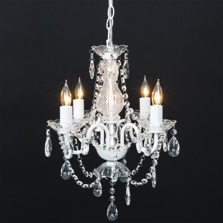 High Country Foyer Chandelier - Best Choice Products Elegant Acrylic Crystal Chandelier Ceiling Light Fixture for Dining Room, Foyer, Bedroom - White