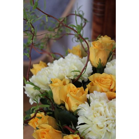 LAMINATED POSTER Ivy Rose Bloom Yellow Bouquet Flower White Poster Print 24 x 36