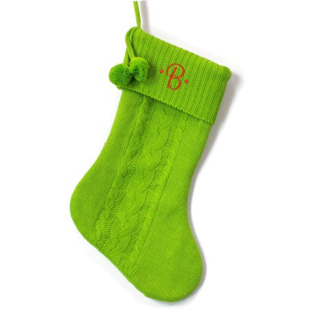 Monogrammed Christmas Stocking, Green Cable Knit with Poms with Script Embroidered Initial ()
