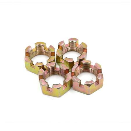 4 Pcs M20 Thread Dia Copper Tone Metal Machine Fastener Screws Hex Groove Nuts
