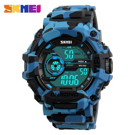 Fashion Waterproof Led Digital Sport Watch  Oak Leaf Casual Digital Alarm Sport Wrist Watch For Kids Children  Dg1233   Blue Camouflage