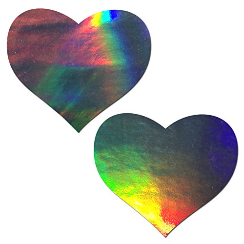 Holographic Heart Pasties, Silver Heart Pasties