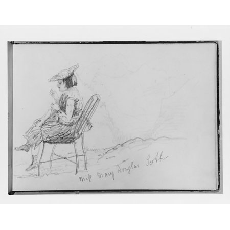 "Miss Mary Douglas Scott Sewing (from Switzerland 1870 Sketchbook) Poster Print by John Singer Sargent (American Florence 1856  ""1925 London) (18 x"
