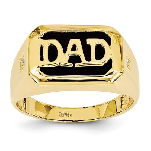 14k Yellow Gold H-I SI2 Quality Diamond Men's Onyx Dad Ring. Carat Wt- 0.022ct