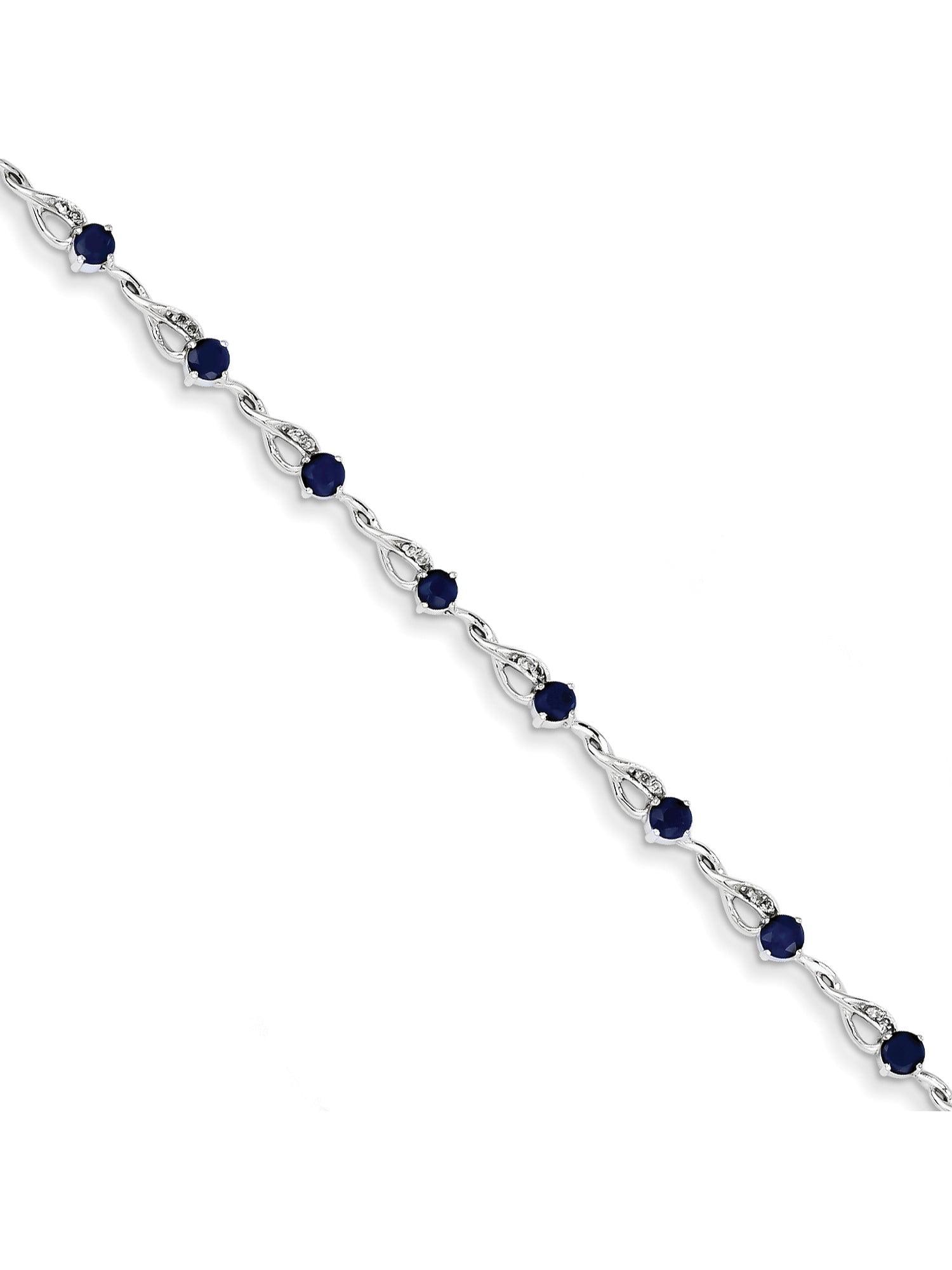 14k White Gold White Diamond and Sapphire Bracelet by
