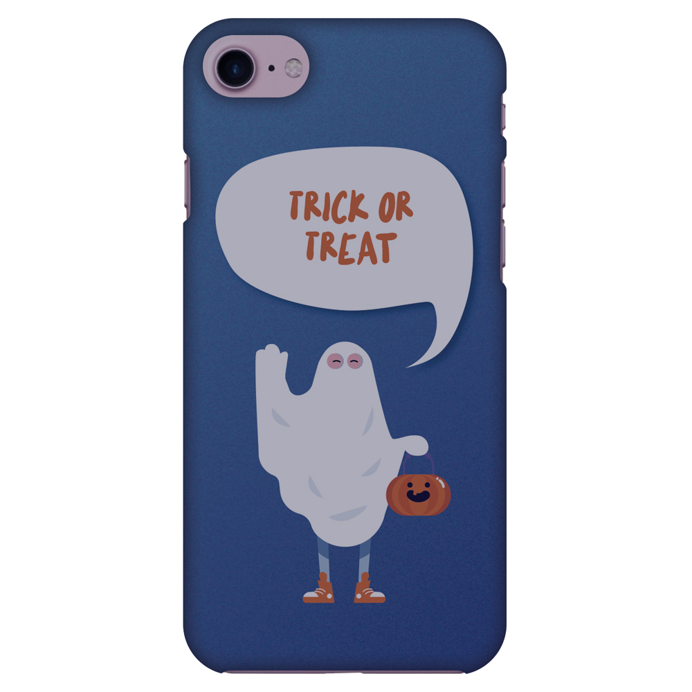 iPhone 8 Case, Premium Handcrafted Printed Halloween Designer Hard ShockProof Case Back Cover for iPhone 8 - Trick Or Treat - White Ghost