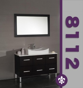 8112-BN 47 Wood & White Porcelain Counter Top with Oversize Porcelain Vessel Sink Set with Brushed Nickel Faucets""