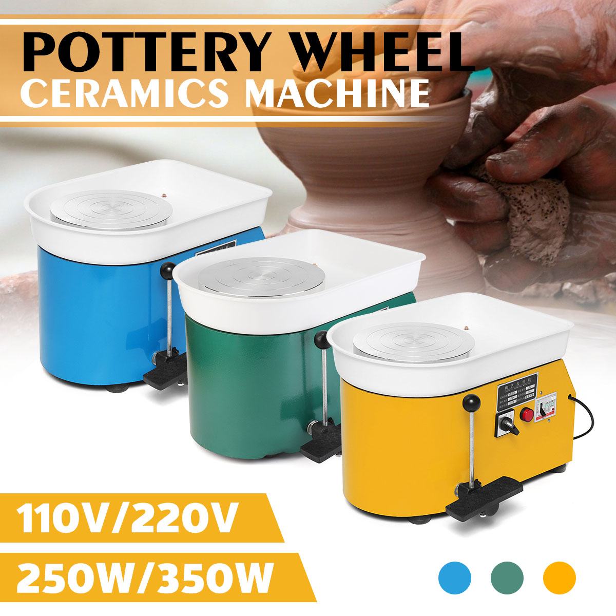 Pottery Forming Machine 250W Electric Pottery Wheel DIY Clay Tool With Tray For Ceramic Work Ceramics