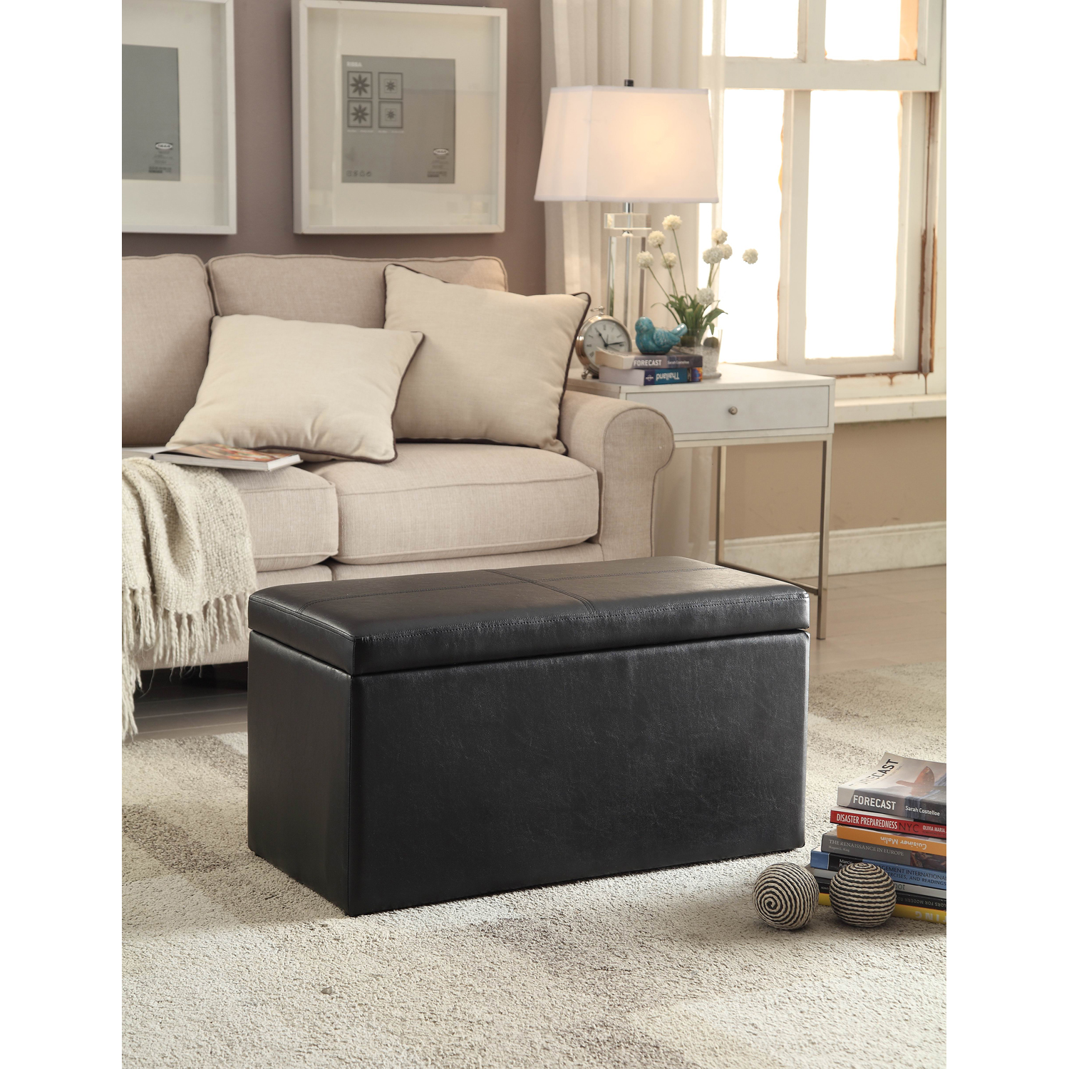 "Better Homes and Gardens 30"" Faux Leather Hinged Storage Ottoman - Black"