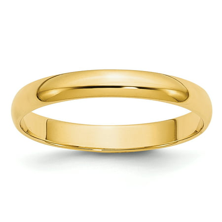 14kt Yellow Gold 3mm Ltw Half Round Wedding Ring Band Size 9 Classic Fine Jewelry For Women Gift Set ()