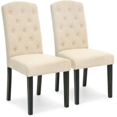 Best Choice Products Fabric Parsons Dining Chairs for Home Dining and Living Room with Tufted Backrest, Wood Legs, Set of 2, (Dining Tables Chairs Best Price)