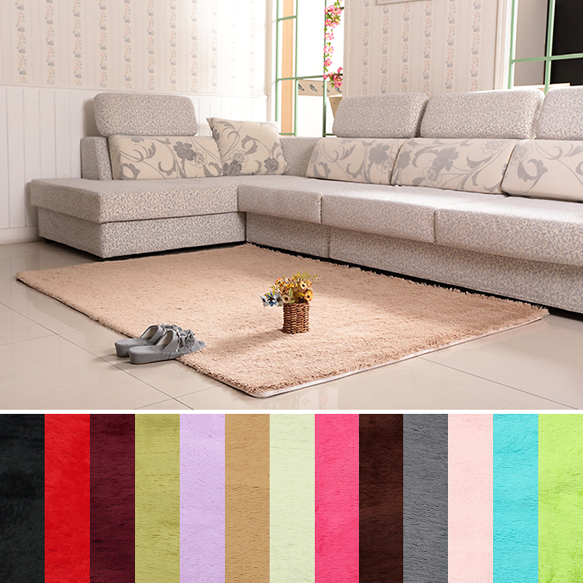 63x47 2 Quot Inch Anti Skid Shaggy Fluffy Area Rug Bedroom