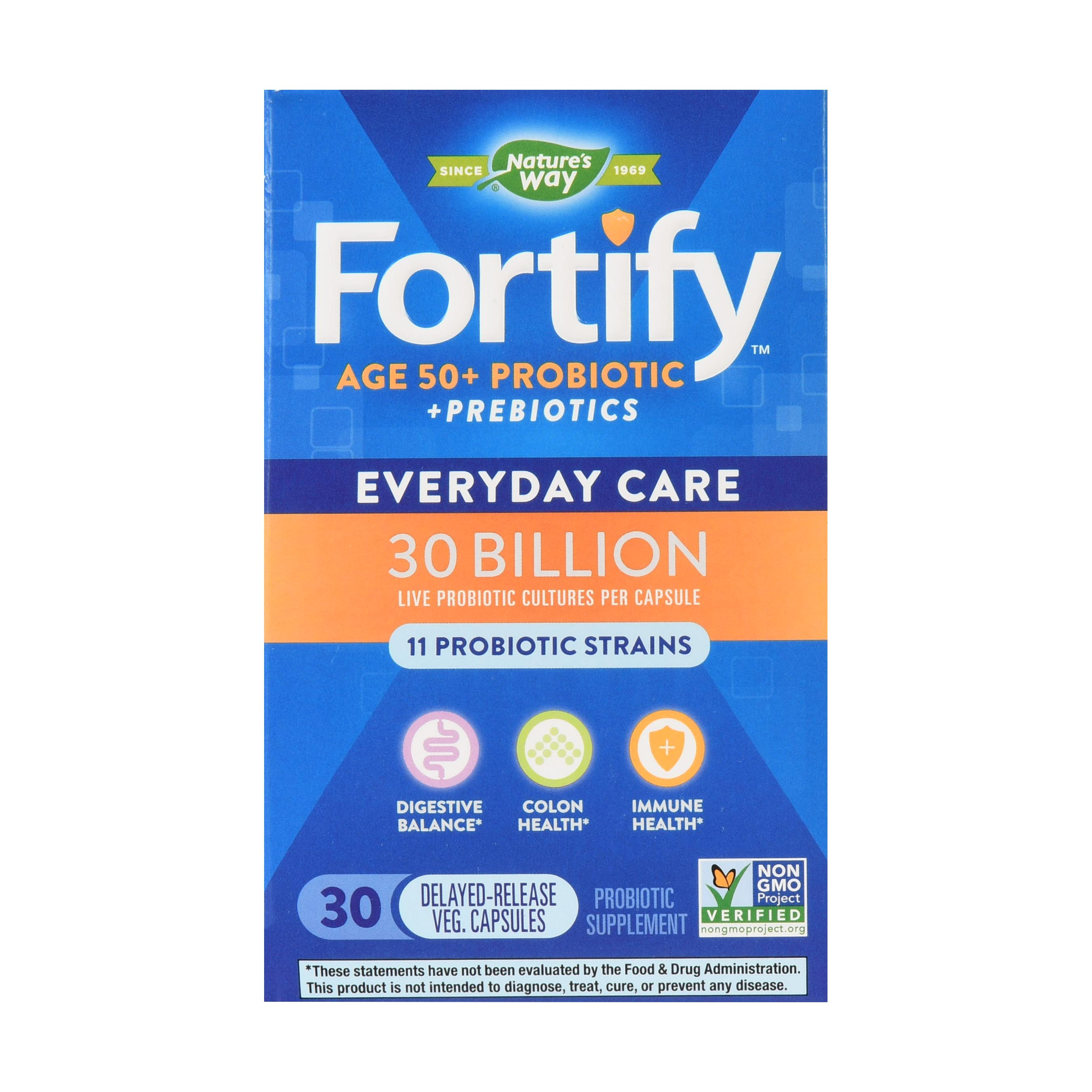 Natures Way Fortify Probiotic Age 50+ 30 Billion Live Cultures 30 Count