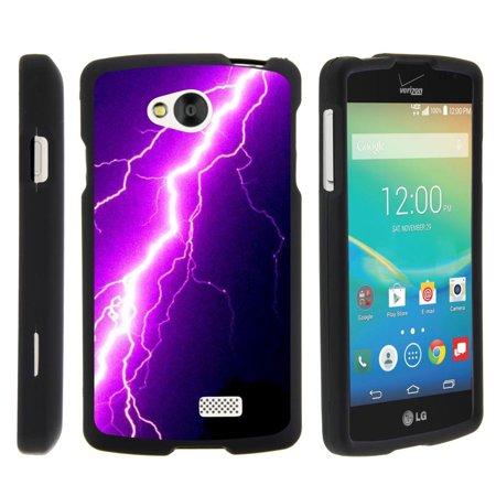 Purple Lightning Bolt (LG Tribute, LG Transpyre, LG Optimus F60, [SNAP SHELL][Matte Black] 2 Piece Snap On Rubberized Hard Plastic Cell Phone Case with Exclusive Art - Purple Lightning)