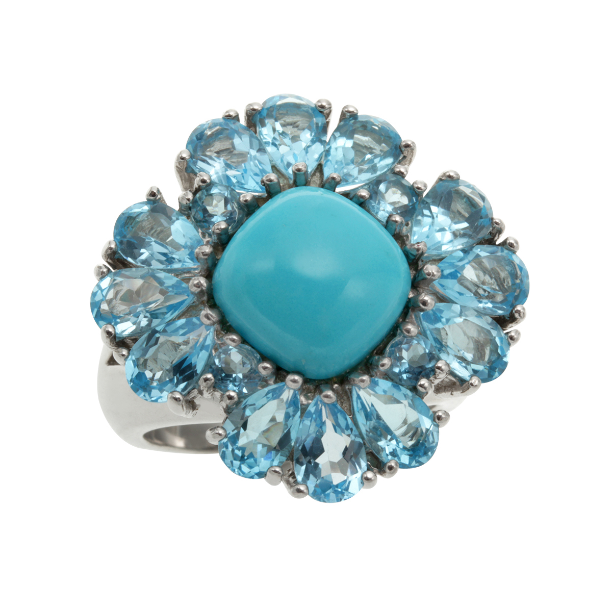 Sterling Silver 9.194ct Sleeping Beauty Turquoise and Swiss Blue Topaz Ring Size 5