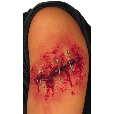 Safely Pinned 4 Inch Gash - Halloween Gashes