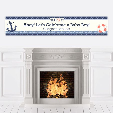 Ahoy - Nautical - Boy Baby Shower Party Decorations Party Banner (Ahoy Baby Shower Decorations)