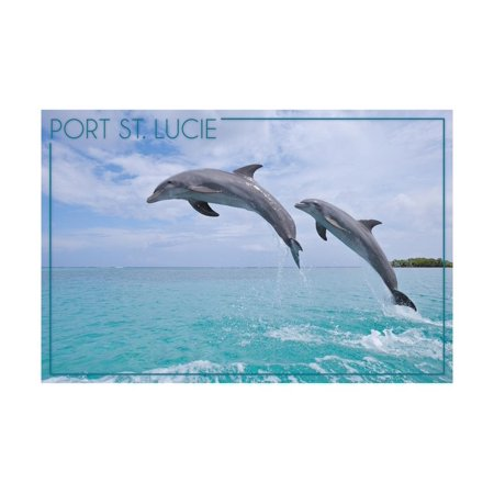 Port St. Lucie, Florida - Dolphins Jumping Print Wall Art By Lantern Press - City Of Port Saint Lucie