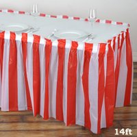BalsaCircle 14 feet x 29-Inch Plastic Stripe Banquet Table Skirt - Wedding Party Trade Show Booth Events Linens Decorations