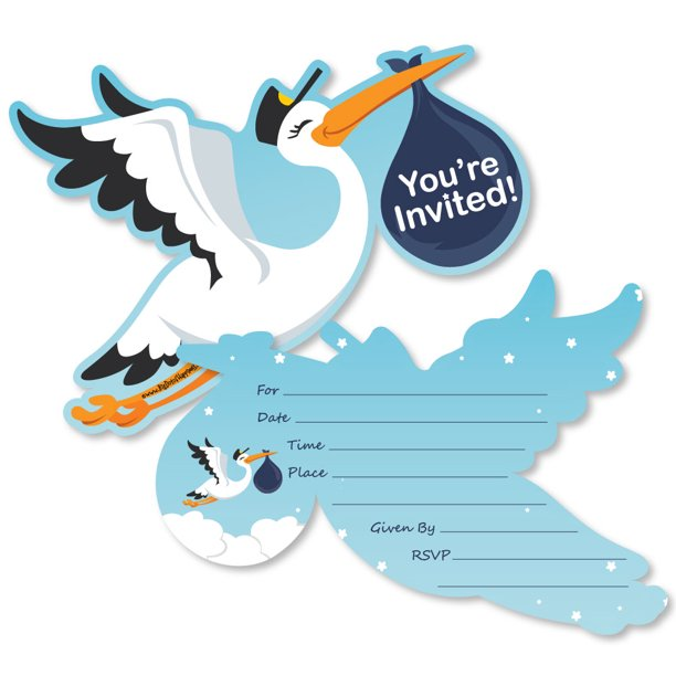 Boy Special Delivery Shaped Fill In Invitations Blue Stork Baby Shower Invitation Cards With Envelopes Set Of 12 Walmart Com Walmart Com