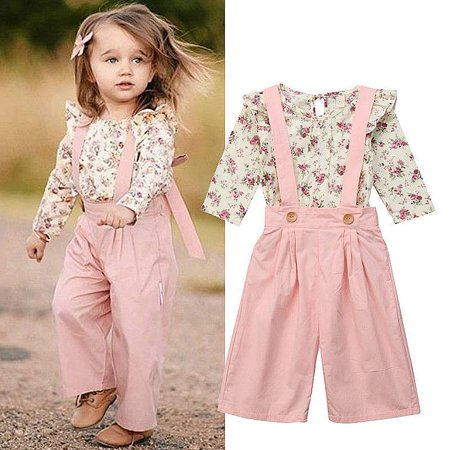 Toddler Baby Girls Ruffle Long Sleeve Floral Shirt Tops+Suspender Strap Overalls Wide Leg Pants 2Pcs Outfit Set - Chucky Overalls For Toddlers