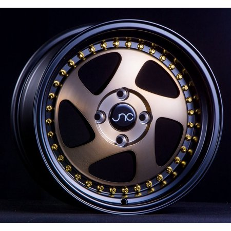 JNC 034 Matte Bronze Black Lip Gold Rivets 15x8 4x100 ET25 Offset Wheel Rim