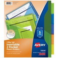 Avery 5-Tab Dividers with Pockets, Insertable Big Tabs, 1 Set (11906)