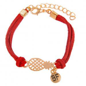 Fancyleo Bracelets Fashion Girls Faux Leather Rope Hollow Pineapple Letter BF Double Layer Bracelet