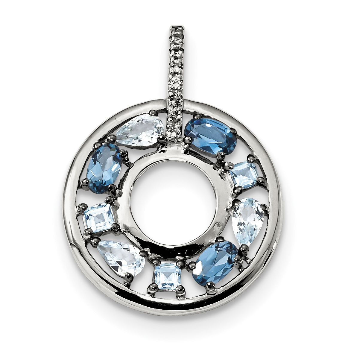 Sterling Silver Polished Topaz CZ Pendant Solid Pendants /& Charms Jewelry