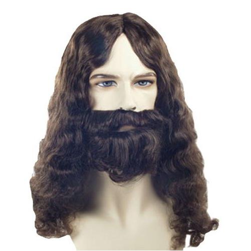 Biblical Beard Set Brown Jesus Wig Adult Mens Hair Kit Costume Accessory NEW