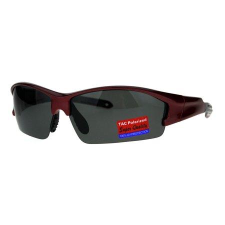 Mens Baseball Half Rim Polarized Warp Plastic Sport Sunglasses Burgundy (Youth Polarized Baseball Sunglasses)