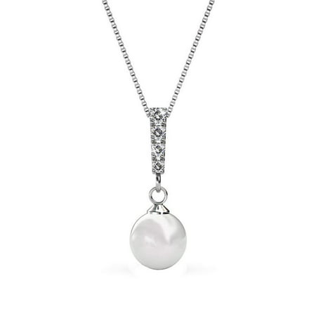 Cate & Chloe Gabrielle 18k White Gold Pearl Cluster Pendant Necklace w/Swarovski Crystals, Beautiful Simulated Pearl Necklace w/Round Cut Diamond Crystal Necklace - MSRP $131