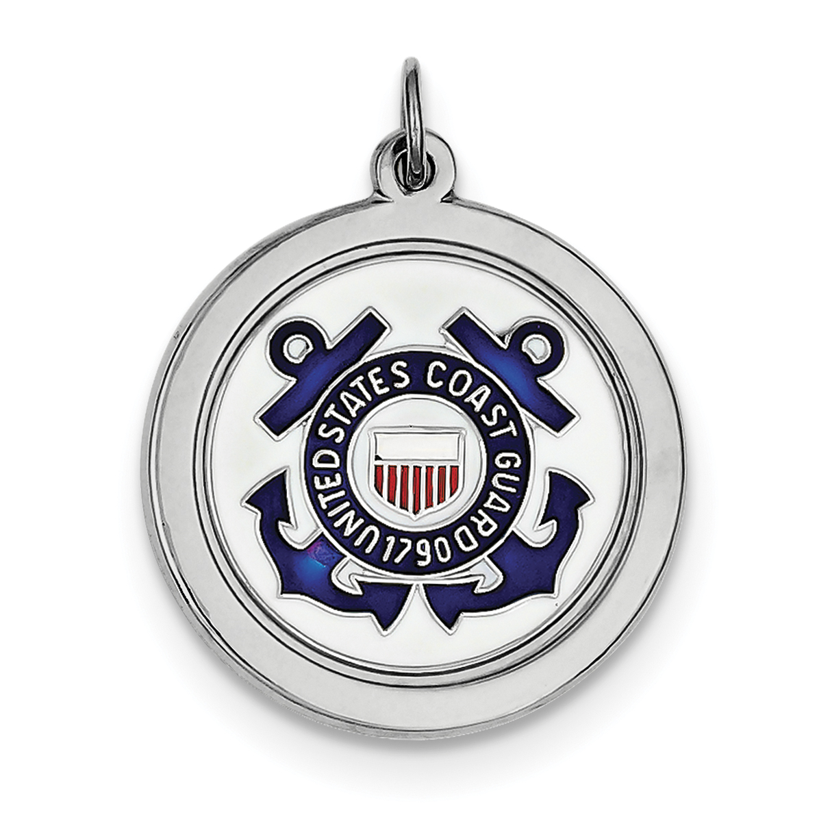 925 Sterling Silver Rhodium-Plated US Coast Guard Disc Pendant - image 2 de 2