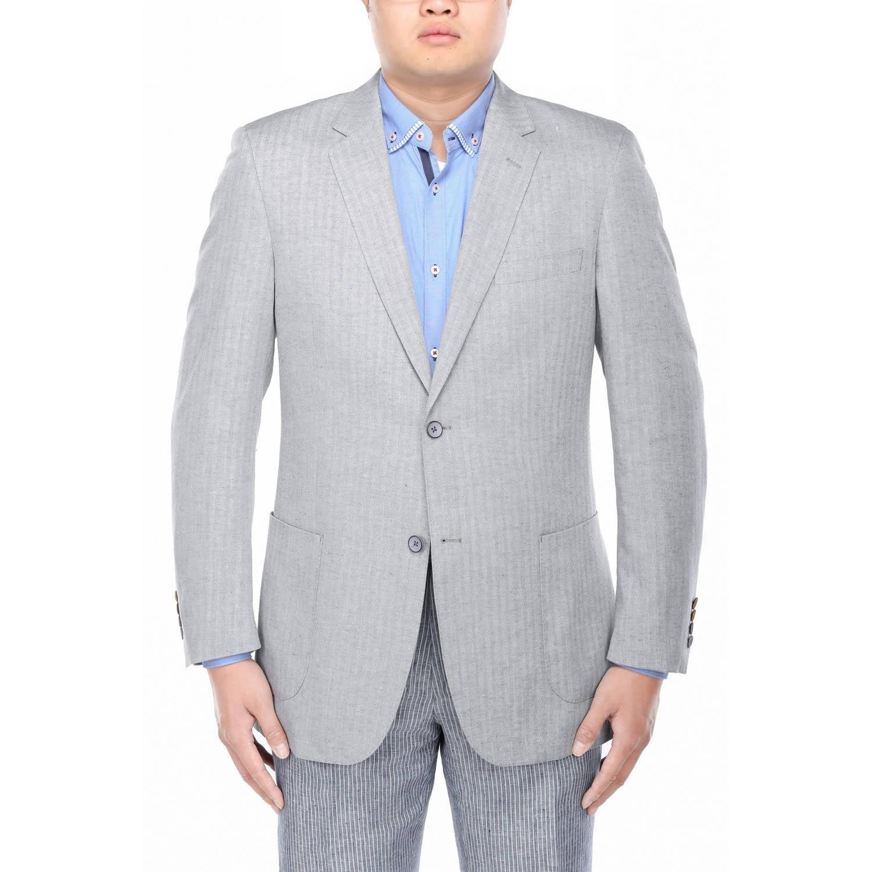 Verno Men's Grey Herringbone Textured Classic Fit Italian Styled Blazer