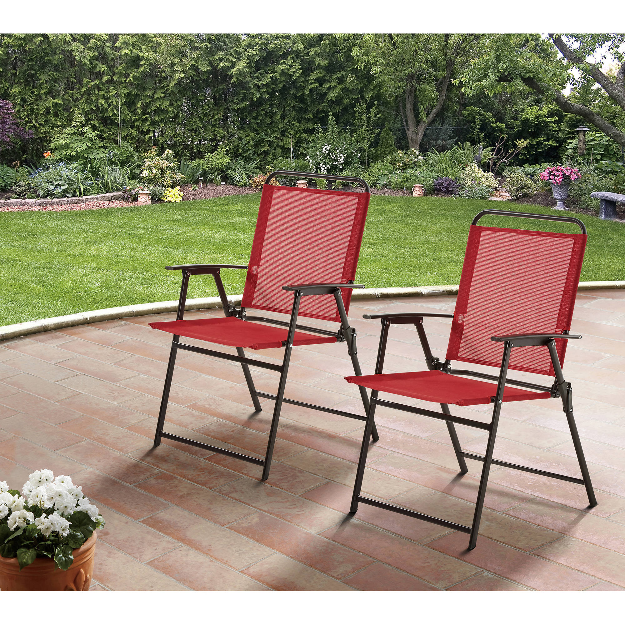 Mainstays Pleasant Grove Sling Folding Chair Set Of 2