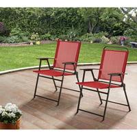 Mainstays Pleasant Grove Sling Folding Chair, Set of 2 - Beige
