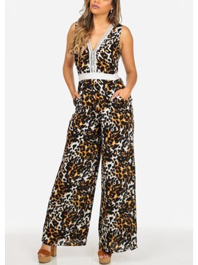 6b0fa578340c Product Image Womens Juniors Stylish Cheetah Print Two-Tone V-Neck  Sleeveless Wide Leg Jumpsuit 10278I