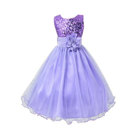 StylesILove Lovely Sequin Flower Girl Dress, 5 Colors (5-6 Years, Purple)